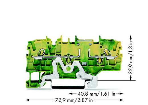 Doppelstock-Schutzleiterklemme 5.20 mm Zugfeder Belegung: PE Grün-Gelb WAGO 2002-1907 50 St.