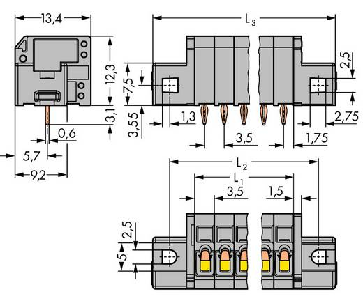 Federkraftklemmblock 1.50 mm² Polzahl 4 739-304/100-000/001-000 WAGO Grau 140 St.