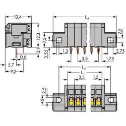 Pružinová svorka WAGO 739-304/100-000/001-000, 1.50 mm², Počet pinov 4, sivá, 140 ks