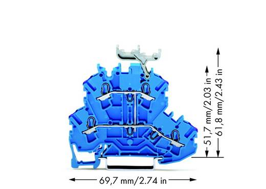 Doppelstock-Durchgangsklemme 5.20 mm Zugfeder Belegung: N Blau WAGO 2002-2239 50 St.