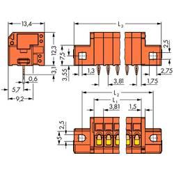 Pružinová svorka WAGO 739-334/100-000/001-000, 1.50 mm², Počet pinov 4, oranžová, 140 ks