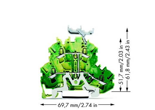 Doppelstock-Schutzleiterklemme 5.20 mm Zugfeder Belegung: PE Grün-Gelb WAGO 2002-2237 50 St.