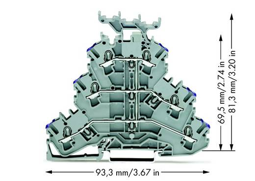 Dreistock-Durchgangsklemme 5.20 mm Zugfeder Belegung: L Grau WAGO 2002-3238 50 St.