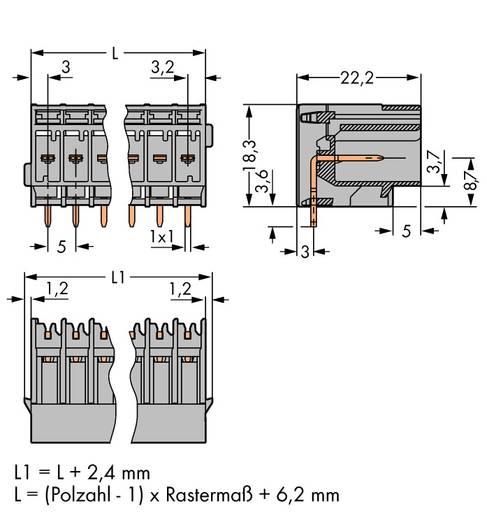 Buchsengehäuse-Platine 769 Polzahl Gesamt 6 WAGO 769-666 Rastermaß: 5 mm 50 St.