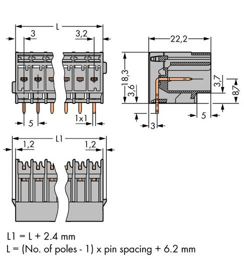 Buchsengehäuse-Platine 769 Polzahl Gesamt 12 WAGO 769-672 Rastermaß: 5 mm 25 St.