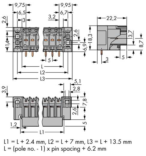 Buchsengehäuse-Platine 769 Polzahl Gesamt 5 WAGO 769-665/004-000 Rastermaß: 5 mm 50 St.