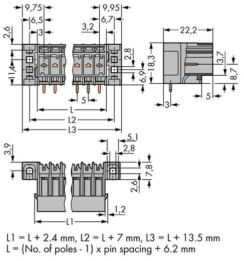 WAGO 769-662/003-000 Buchsengehäuse-Platine 769 Polzahl Gesamt 2 Rastermaß: 5 mm 100 St.