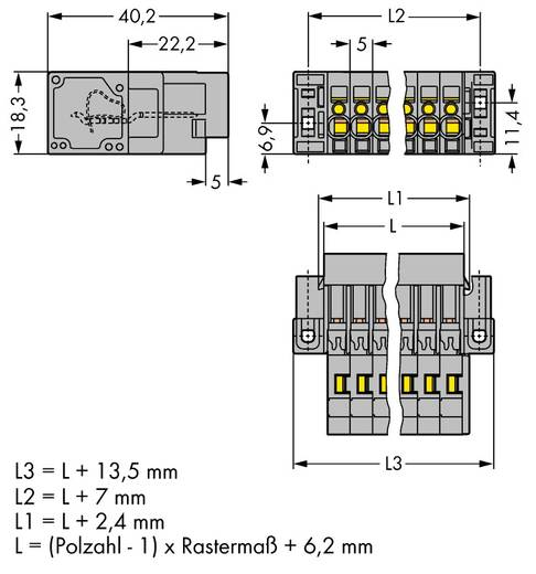 Buchsengehäuse-Kabel 769 Polzahl Gesamt 5 WAGO 769-605/004-000 Rastermaß: 5 mm 25 St.