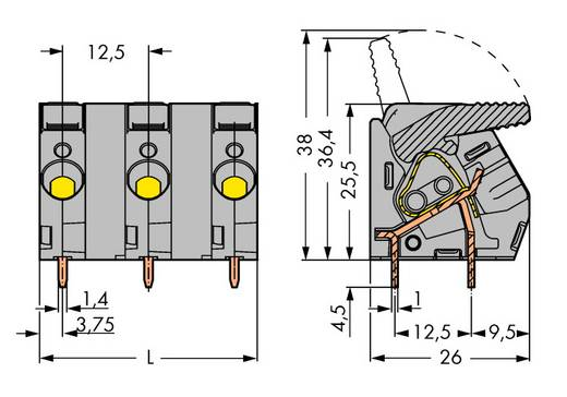 Federkraftklemmblock 6.00 mm² Polzahl 12 WAGO Grau 5 St.