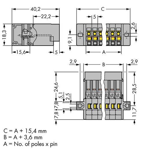 Buchsengehäuse-Kabel 769 Polzahl Gesamt 14 WAGO 769-614/002-000 Rastermaß: 5 mm 10 St.