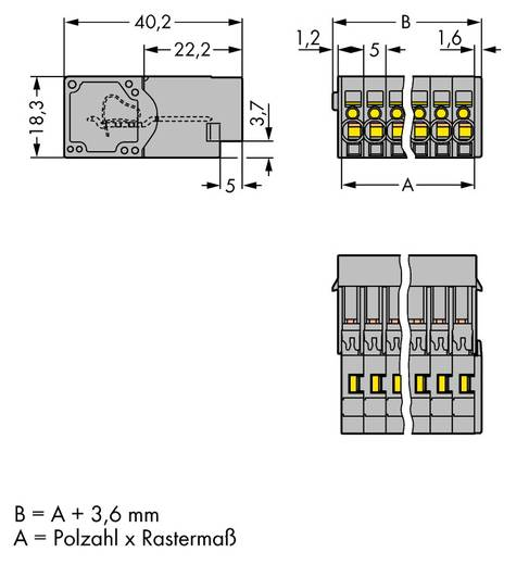 WAGO 769-602 Buchsengehäuse-Kabel 769 Polzahl Gesamt 2 Rastermaß: 5 mm 100 St.