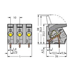 Pružinová svorka WAGO 2706-204, 6.00 mm², Pólov 4, sivá, 30 ks