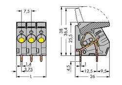 Bornier à ressort WAGO 2706-109 6.00 mm² Nombre total de pôles 9 gris 15 pc(s)