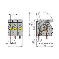 Pružinová svorka WAGO 2706-111/000-004, 6.00 mm², Počet pinov 11, čierna, 15 ks
