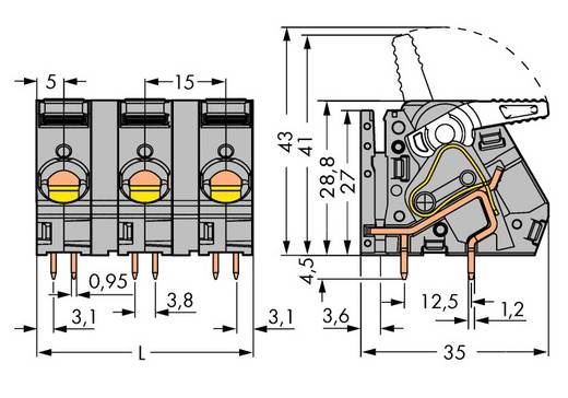 Federkraftklemmblock 6.00 mm² Polzahl 8 2716-258 WAGO Grau 8 St.