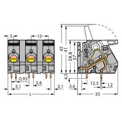 Pružinová svorka WAGO 2716-258, 6.00 mm², Pólov 8, sivá, 8 ks