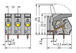 Bornier à ressort WAGO 2706-253 6.00 mm² Nombre total de pôles 3 gris 45 pc(s)