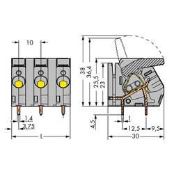 Pružinová svorka WAGO 2706-256, 6.00 mm², Pólov 6, sivá, 20 ks