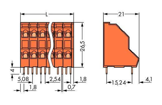 Doppelstockklemme 2.50 mm² Polzahl 30 736-415 WAGO Orange 21 St.