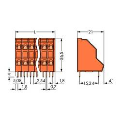 Dvojradový svorka WAGO 736-415, 2.50 mm², Pólov 30, oranžová, 21 ks