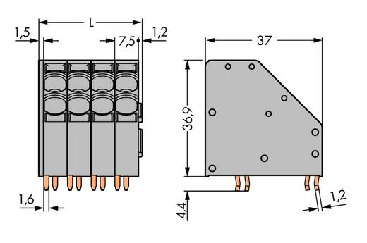 Federkraftklemmblock 10.00 mm² Polzahl 5 WAGO Grau 24 St.