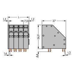 Pružinová svorka WAGO 746-2304, 10.00 mm², Počet pinov 4, sivá, 32 ks