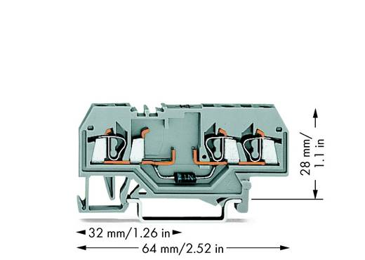 Diodenklemme 5 mm Zugfeder Belegung: L Grau WAGO 280-673/281-411 100 St.