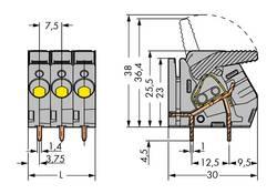 Bornier à ressort WAGO 2706-157 6.00 mm² Nombre total de pôles 7 gris 20 pc(s)