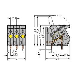 Pružinová svorka WAGO 2706-155, 6.00 mm², Pólov 5, sivá, 30 ks
