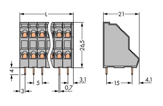 Doppelstockklemme 0.34 mm² Polzahl 14 WAGO Grün-Gelb 49 St.