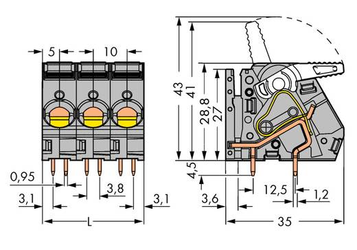 Federkraftklemmblock 6.00 mm² Polzahl 2 WAGO Grau 52 St.