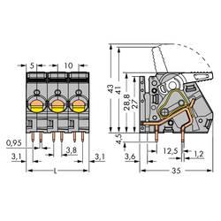 Pružinová svorka WAGO 2716-153, 6.00 mm², Počet pinov 3, sivá, 32 ks