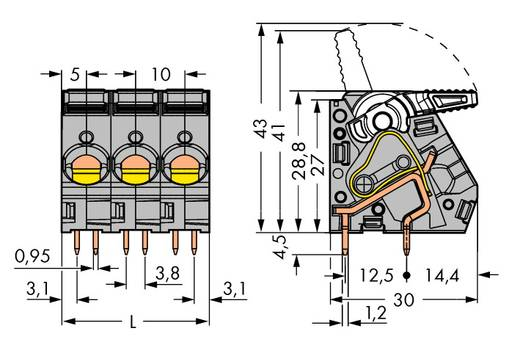 Federkraftklemmblock 6.00 mm² Polzahl 3 2716-103 WAGO Grau 40 St.