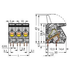 Pružinová svorka WAGO 2716-104, 6.00 mm², Pólov 4, sivá, 30 ks