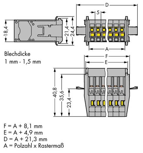Buchsengehäuse-Kabel 769 Polzahl Gesamt 6 WAGO 769-606/005-000 Rastermaß: 5 mm 25 St.