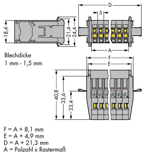 WAGO 769-610/005-000 Buchsengehäuse-Kabel 769 Polzahl Gesamt 10 Rastermaß: 5 mm 20 St.