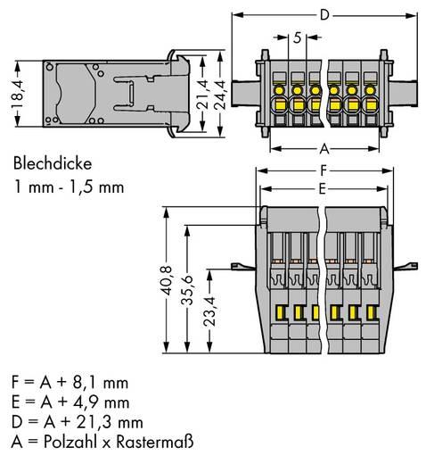 WAGO Buchsengehäuse-Kabel 769 Polzahl Gesamt 4 Rastermaß: 5 mm 769-604/005-000 25 St.