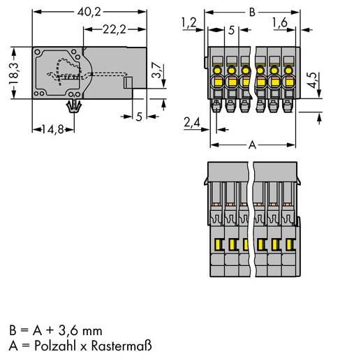 Buchsengehäuse-Kabel 769 Polzahl Gesamt 6 WAGO 769-606/001-000 Rastermaß: 5 mm 50 St.