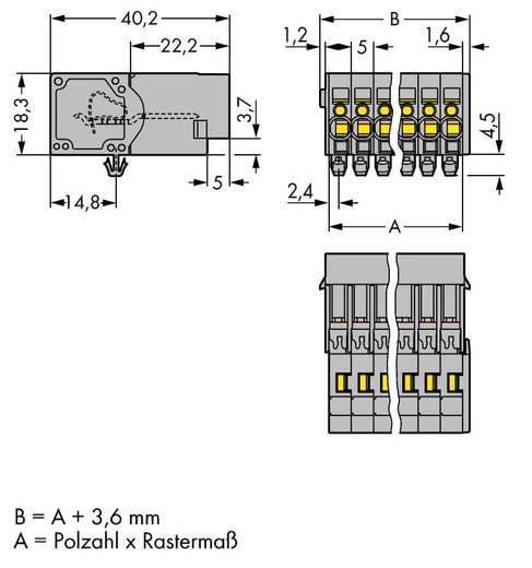 WAGO 769-602/001-000 Buchsengehäuse-Kabel 769 Polzahl Gesamt 2 Rastermaß: 5 mm 100 St.
