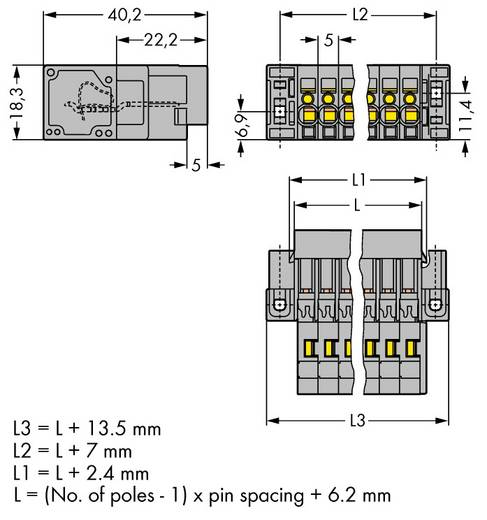 WAGO Buchsengehäuse-Kabel 769 Polzahl Gesamt 8 Rastermaß: 5 mm 769-608/004-000 25 St.
