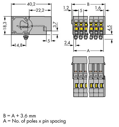 Buchsengehäuse-Kabel 769 Polzahl Gesamt 3 WAGO 769-603/001-000 Rastermaß: 5 mm 100 St.
