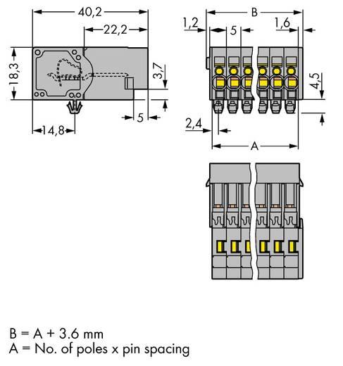 WAGO Buchsengehäuse-Kabel 769 Polzahl Gesamt 14 Rastermaß: 5 mm 769-614/001-000 15 St.