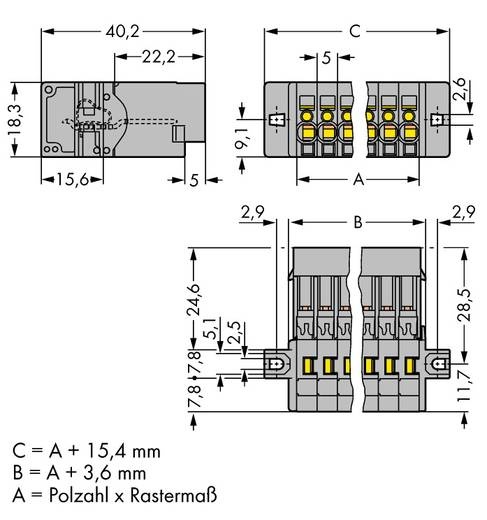 Buchsengehäuse-Kabel 769 Polzahl Gesamt 2 WAGO 769-602/002-000 Rastermaß: 5 mm 100 St.