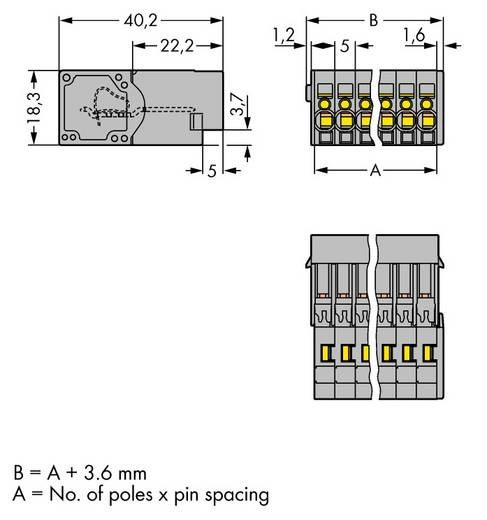 Buchsengehäuse-Kabel 769 Polzahl Gesamt 13 WAGO 769-613 Rastermaß: 5 mm 25 St.