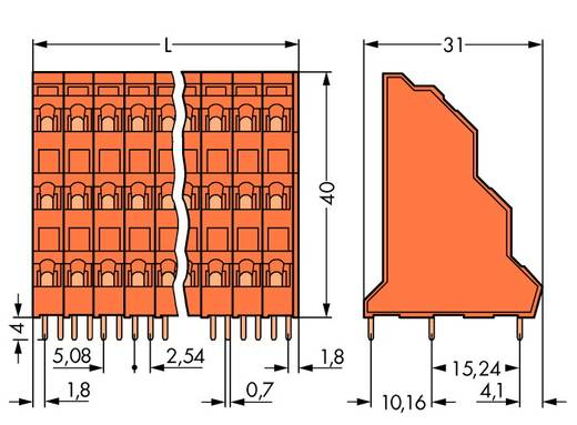 Dreistockklemme 2.50 mm² Polzahl 12 WAGO Orange 48 St.