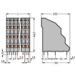 Pružinová svorka WAGO 738-208, 2.50 mm², Počet pinov 32, sivá, 18 ks