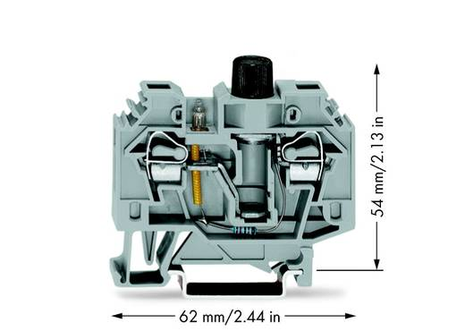 Sicherungsklemme 13 mm Zugfeder Belegung: L Grau WAGO 282-128/281-417 40 St.