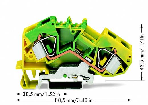Schutzleiterklemme 12 mm Zugfeder Belegung: PE Grün-Gelb WAGO 783-607 25 St.