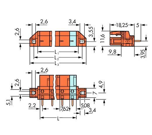 Buchsengehäuse-Platine 232 Polzahl Gesamt 5 WAGO 232-765/031-000 Rastermaß: 7.62 mm 50 St.