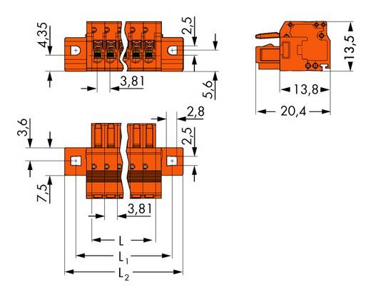 Buchsengehäuse-Kabel 2734 Polzahl Gesamt 14 WAGO 2734-214/031-000 Rastermaß: 3.81 mm 25 St.